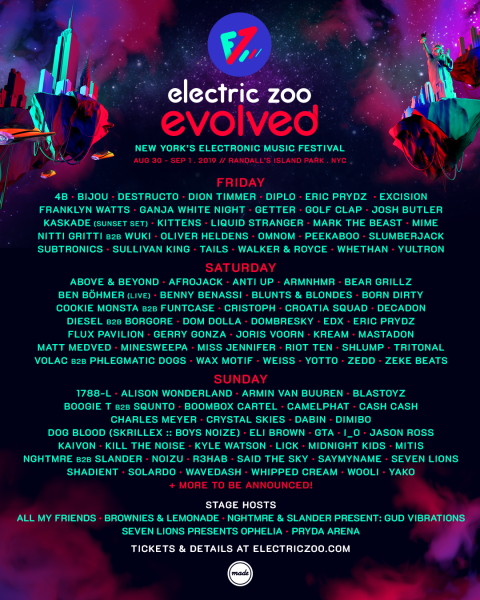 Electric Zoo Announces Full Day By Day Lineup Including B2B Nights With Eric Prydz